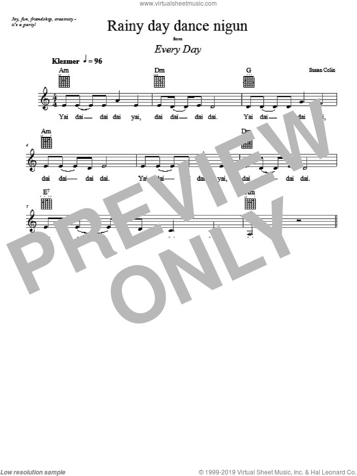 Rainy Day Dance Nigun sheet music for voice and other instruments (fake book) by Susan Colin, intermediate. Score Image Preview.