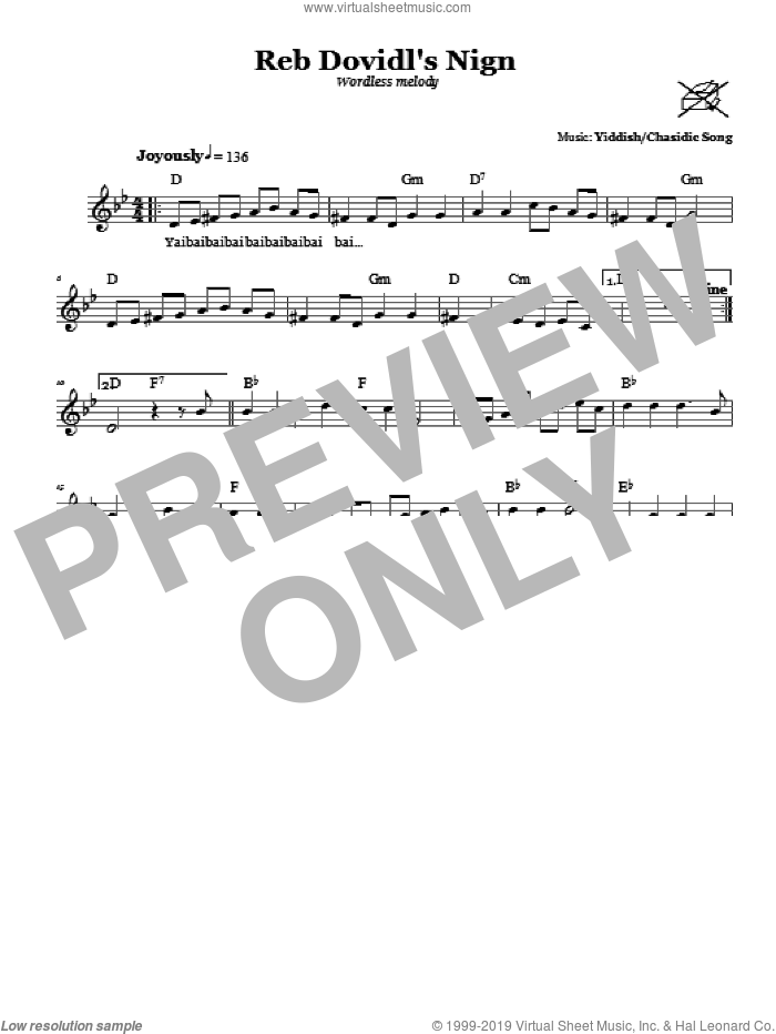 Reb Dovidl's Nign (Wordless Melody) sheet music for voice and other instruments (fake book). Score Image Preview.