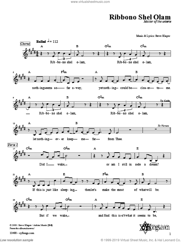 Ribbono Shel Olam sheet music for voice and other instruments (fake book) by Steve Klaper, intermediate. Score Image Preview.