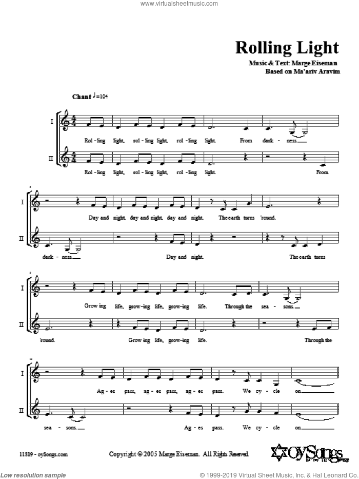Rolling Light sheet music for voice and other instruments (fake book) by Marge Eiseman. Score Image Preview.