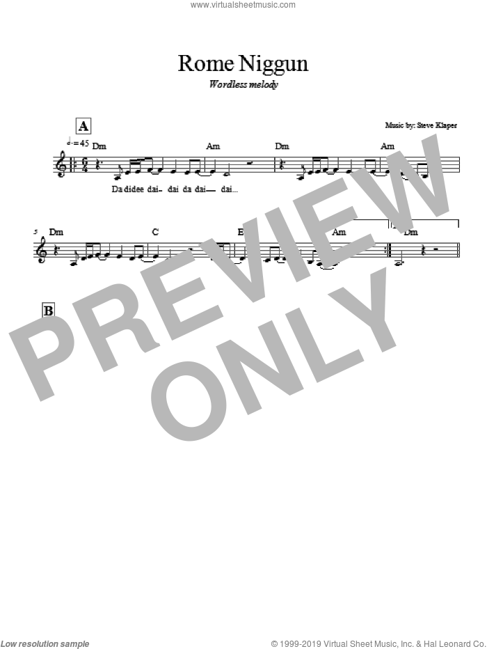 Rome Niggun sheet music for voice and other instruments (fake book) by Steve Klaper, intermediate skill level