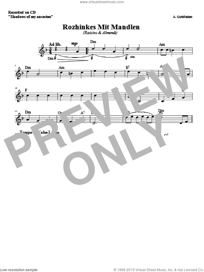 Rozhinkes Mit Mandlen sheet music for voice and other instruments (fake book) by Zinovy Goro. Score Image Preview.
