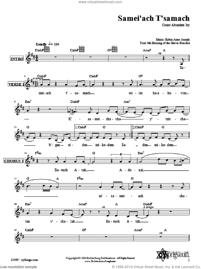 Samei'ach T'samach sheet music for voice and other instruments (fake book) by Robin Joseph. Score Image Preview.