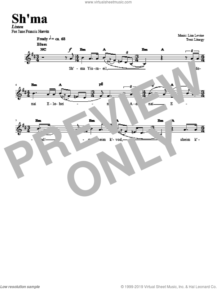 Sh'ma sheet music for voice and other instruments (fake book) by Lisa Levine, intermediate skill level