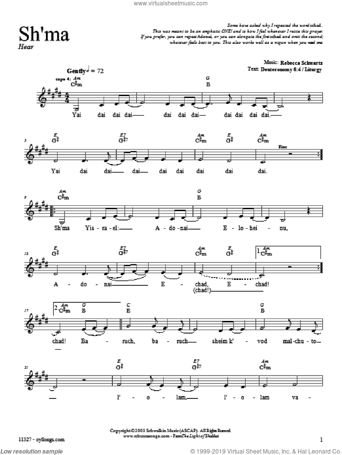 Sh'ma sheet music for voice and other instruments (fake book) by Rebecca Schwartz, intermediate voice. Score Image Preview.