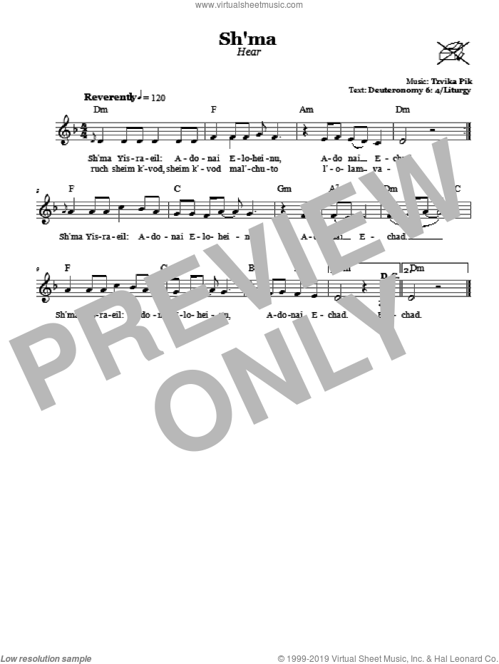 Sh'ma (Hear) sheet music for voice and other instruments (fake book) by Tzvika Pik, intermediate. Score Image Preview.
