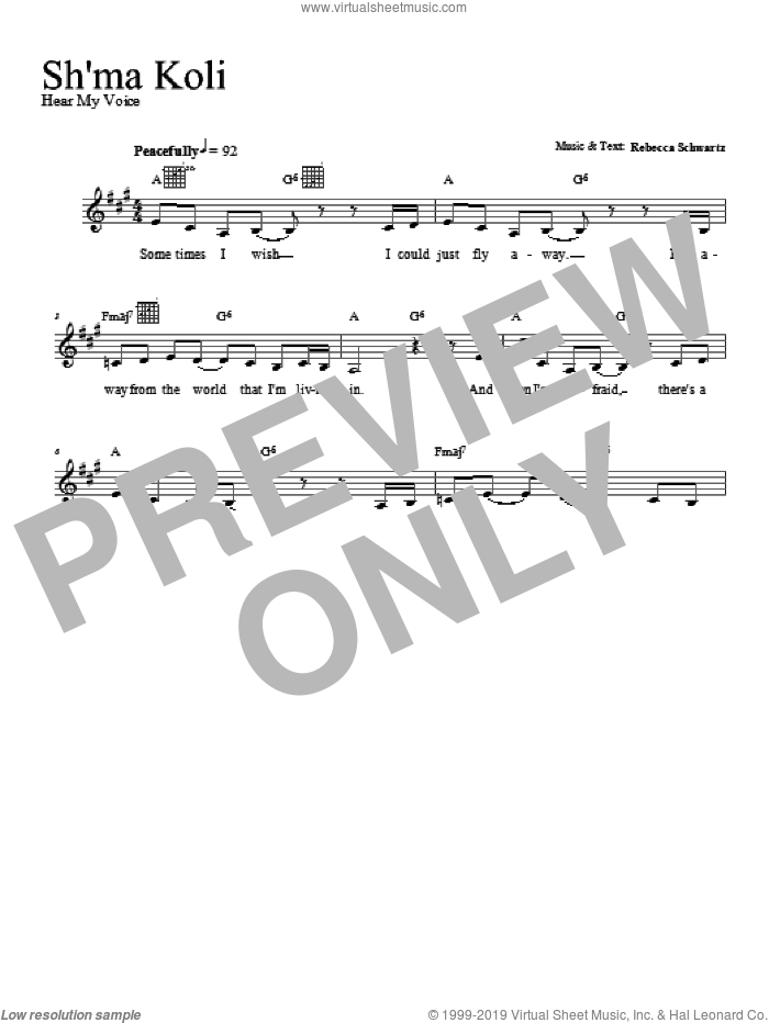 Sh'ma Koli sheet music for voice and other instruments (fake book) by Rebecca Schwartz, intermediate voice. Score Image Preview.