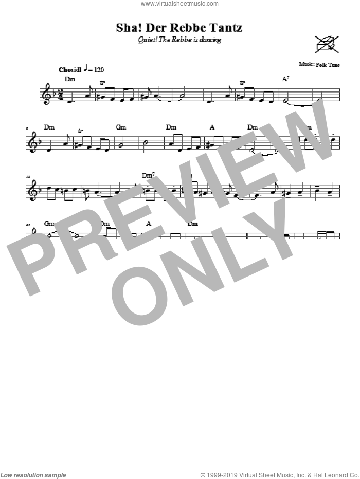 Sha! Der Rebbe Tantz (Quiet! The Rebbe Is Dancing) sheet music for voice and other instruments (fake book)