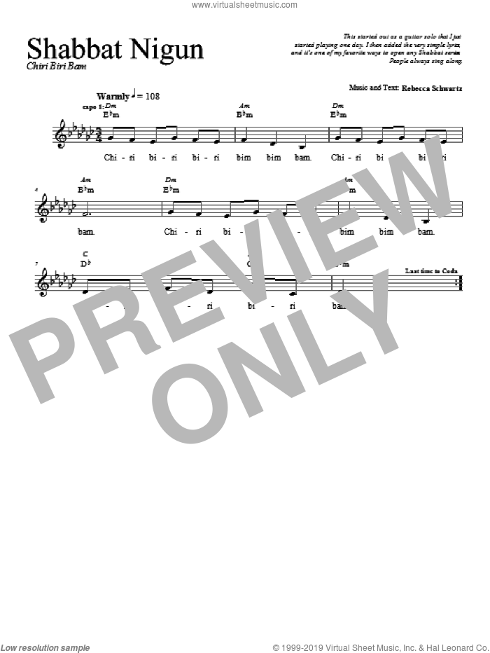 Shabbat Nigun sheet music for voice and other instruments (fake book) by Rebecca Schwartz. Score Image Preview.