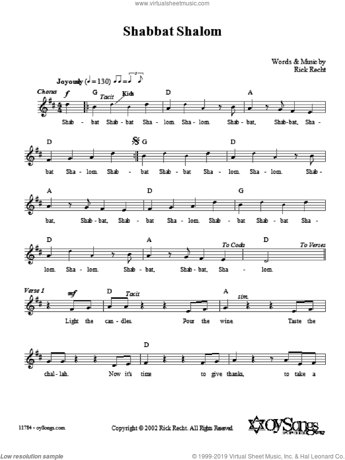 Shabbat Shalom sheet music for voice and other instruments (fake book) by Rick Recht, intermediate. Score Image Preview.