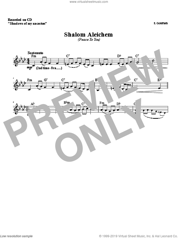 Shalom Aleichem sheet music for voice and other instruments (fake book) by Zinovy Goro, intermediate voice. Score Image Preview.