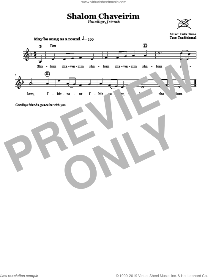 Shalom Chaveirim (Goodbye, Friends) sheet music for voice and other instruments (fake book). Score Image Preview.