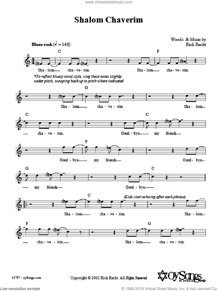 Shalom Chaverim sheet music for voice and other instruments (fake book) by Rick Recht, intermediate. Score Image Preview.