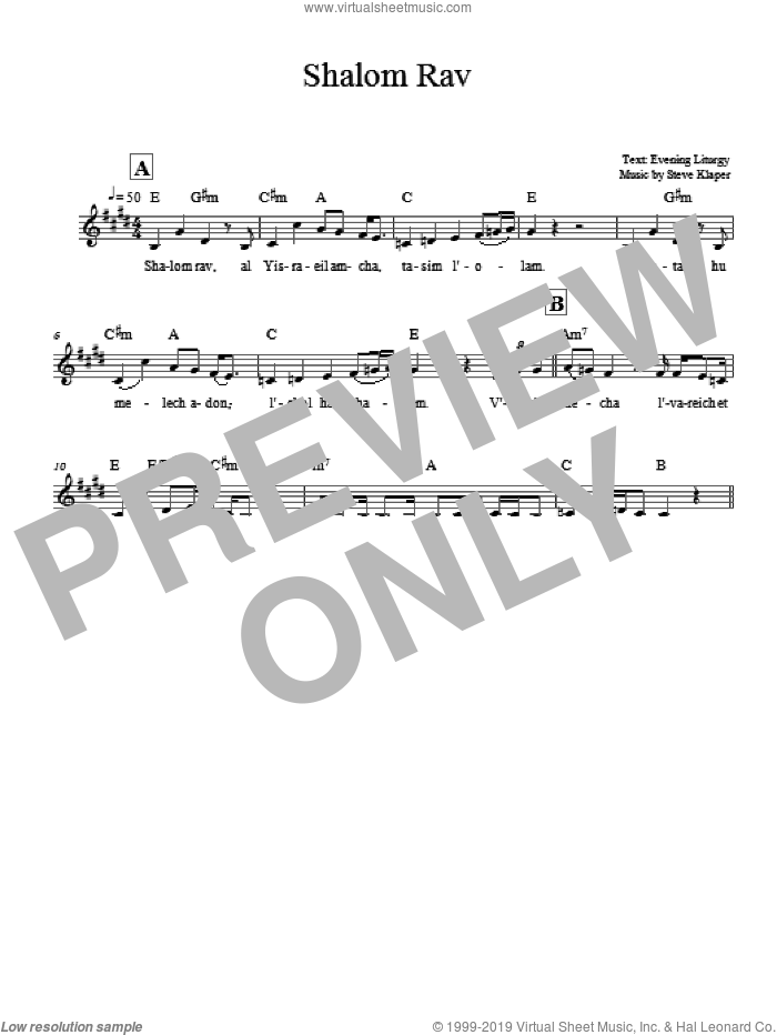 Shalom Rav sheet music for voice and other instruments (fake book) by Steve Klaper, intermediate. Score Image Preview.