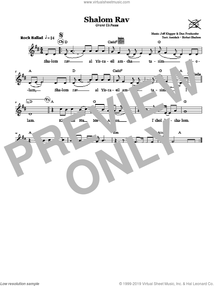 Shalom Rav (Grant Us Peace) sheet music for voice and other instruments (fake book) by Jeff Klepper and Dan Freelander, intermediate. Score Image Preview.