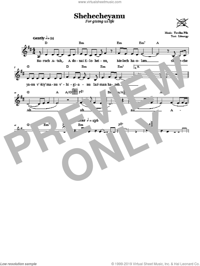 Shehecheyanu (For Giving Us Life) sheet music for voice and other instruments (fake book) by Tzvika Pik, intermediate voice. Score Image Preview.
