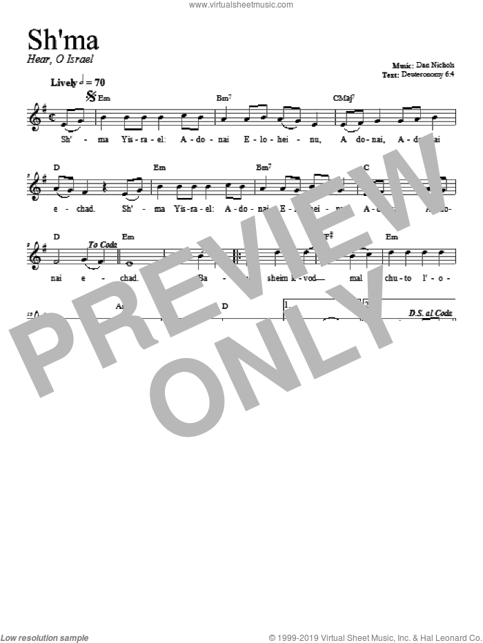 Shema sheet music for voice and other instruments (fake book) by Dan Nichols, intermediate. Score Image Preview.