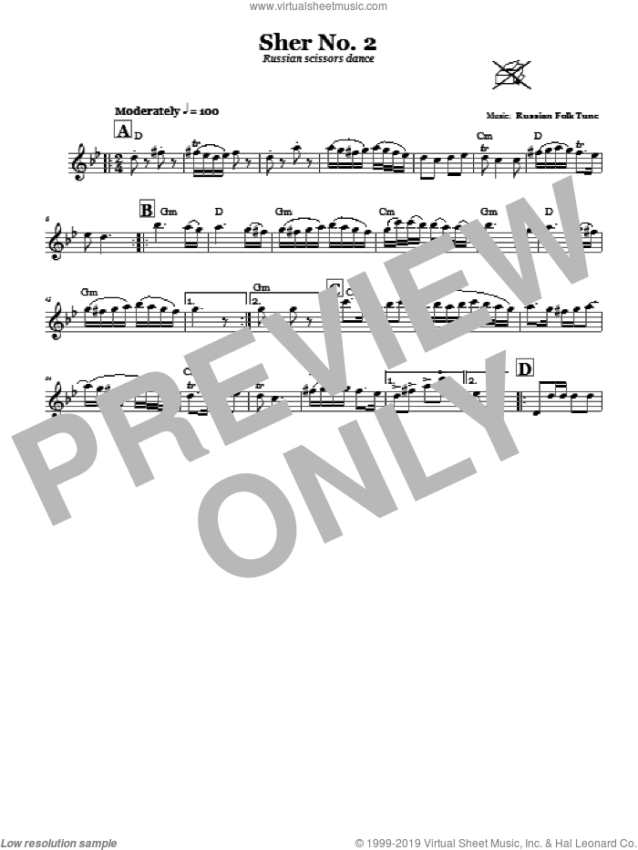 Sher No. 2 (Russian Scissors Dance) sheet music for voice and other instruments (fake book), intermediate. Score Image Preview.