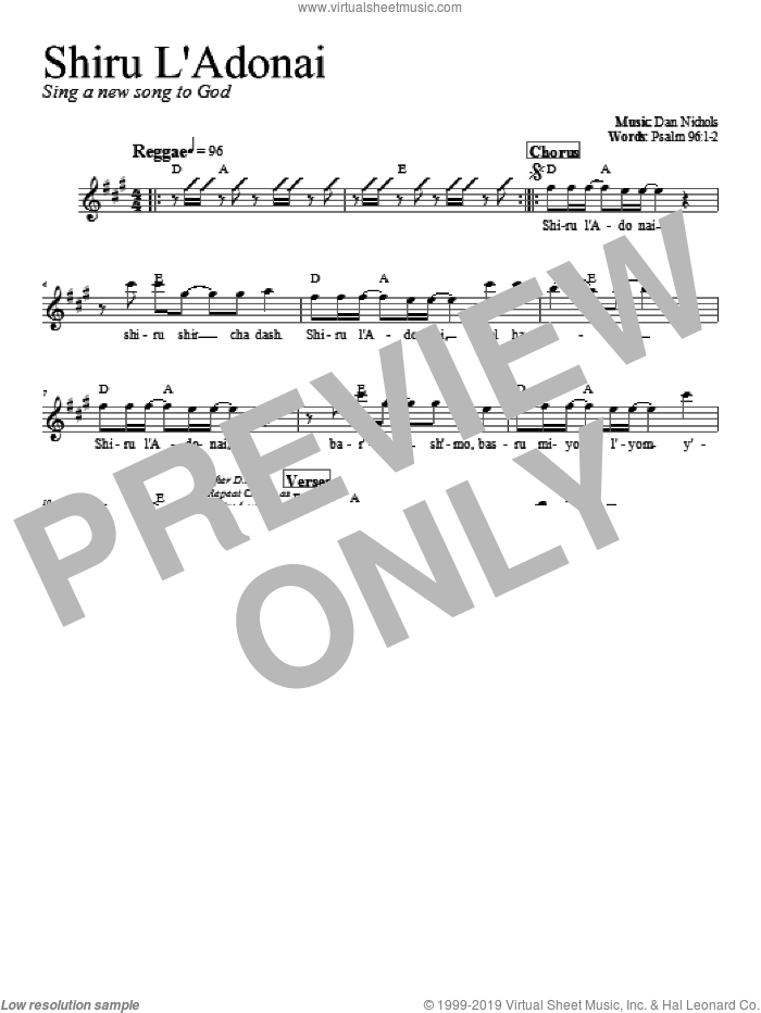 Shiru L'Adonai sheet music for voice and other instruments (fake book) by Dan Nichols. Score Image Preview.