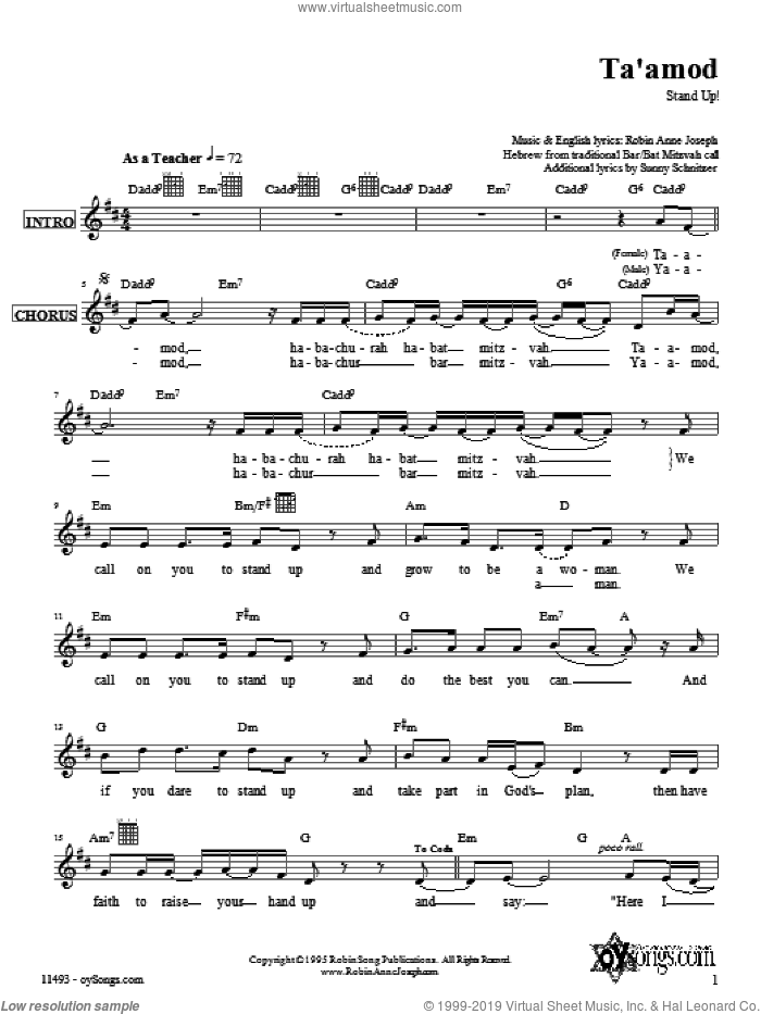 Ta'amod sheet music for voice and other instruments (fake book) by Robin Joseph. Score Image Preview.
