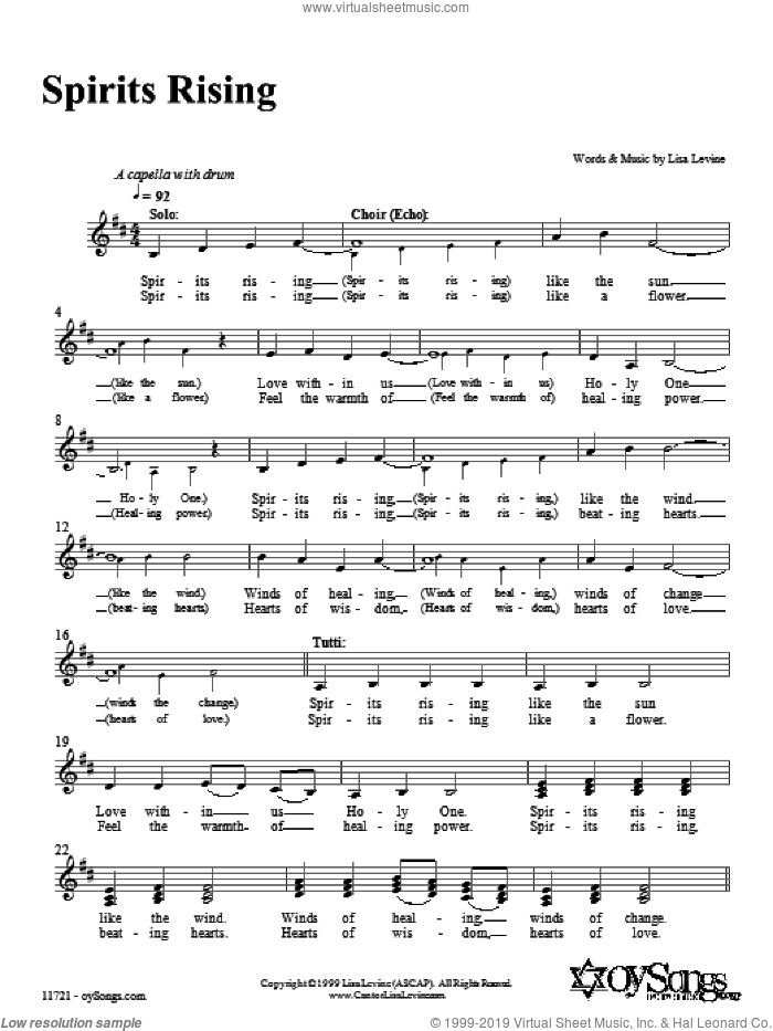 Spirits Rising sheet music for voice and other instruments (fake book) by Lisa Levine, intermediate. Score Image Preview.