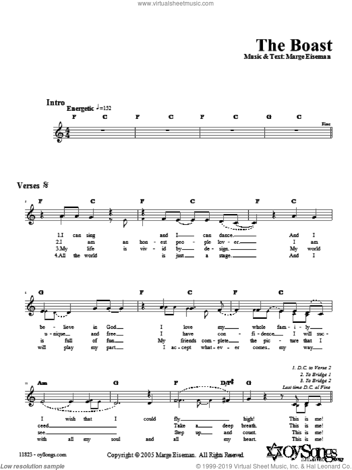 The Boast sheet music for voice and other instruments (fake book) by Marge Eiseman. Score Image Preview.