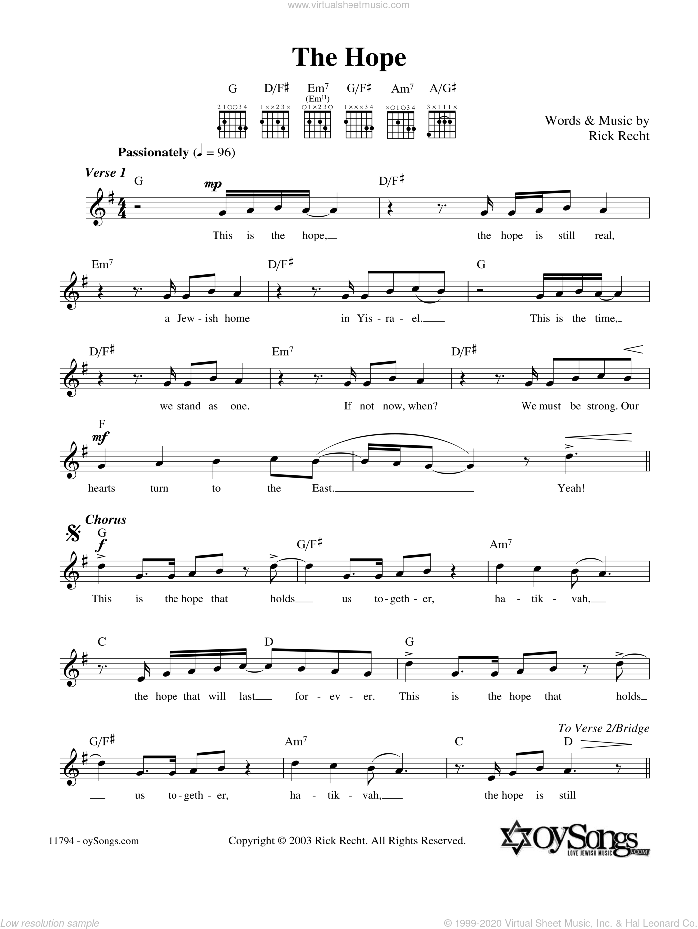 The Hope sheet music for voice and other instruments (fake book) by Rick Recht