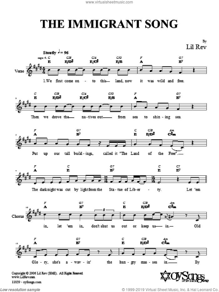 The Immigrant Song sheet music for voice and other instruments (fake book) by Lil Rev. Score Image Preview.