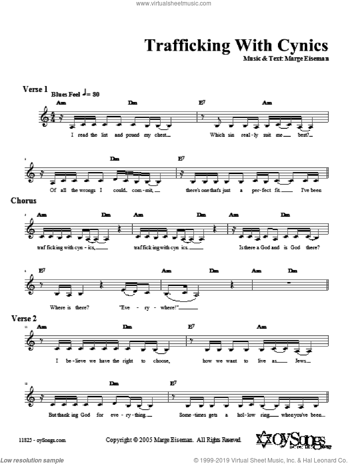 Trafficking With Cynics sheet music for voice and other instruments (fake book) by Marge Eiseman