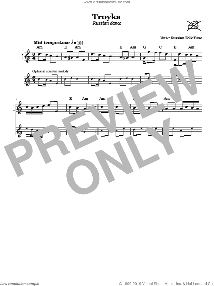 Troyka (Russian Dance) sheet music for voice and other instruments (fake book), intermediate. Score Image Preview.