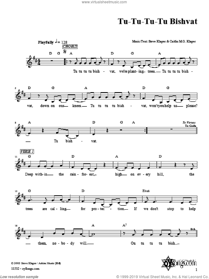 Tu-Tu-Tu-Tu Bishvat sheet music for voice and other instruments (fake book) by Steve Klaper, intermediate. Score Image Preview.
