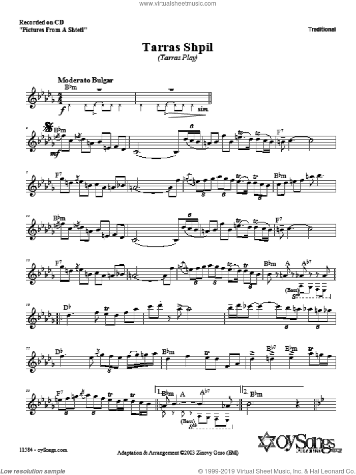 Tarras Shpil sheet music for voice and other instruments (fake book) by Zinovy Goro, intermediate. Score Image Preview.