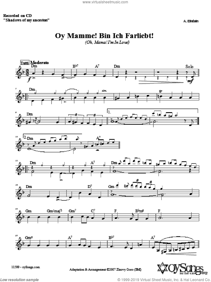 Oy Mamme! Bin Ich Farliebt! sheet music for voice and other instruments (fake book) by Zinovy Goro, intermediate skill level