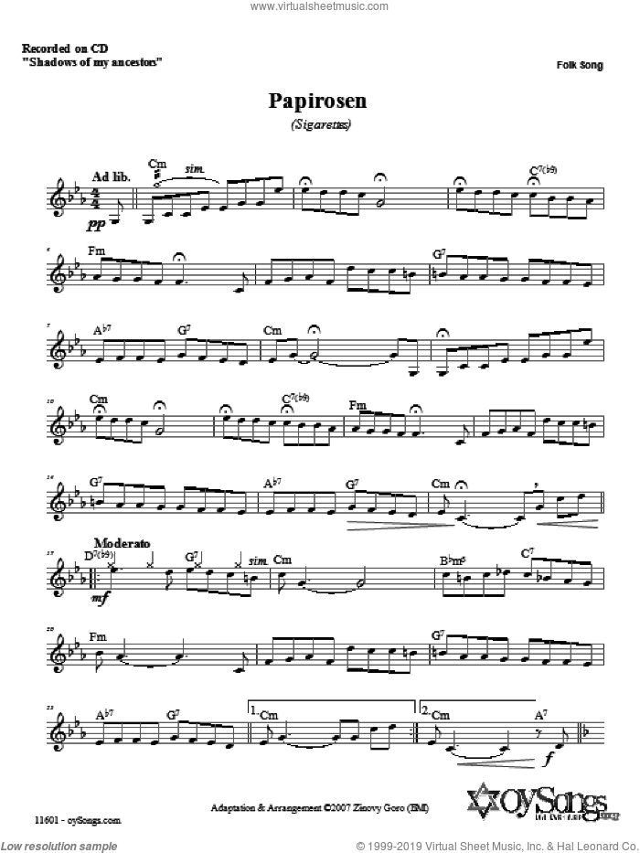 Papirosen sheet music for voice and other instruments (fake book) by Zinovy Goro. Score Image Preview.