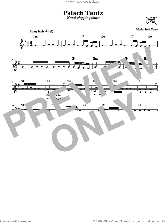 Patsch Tantz (Hand-Clapping Dance) sheet music for voice and other instruments (fake book). Score Image Preview.