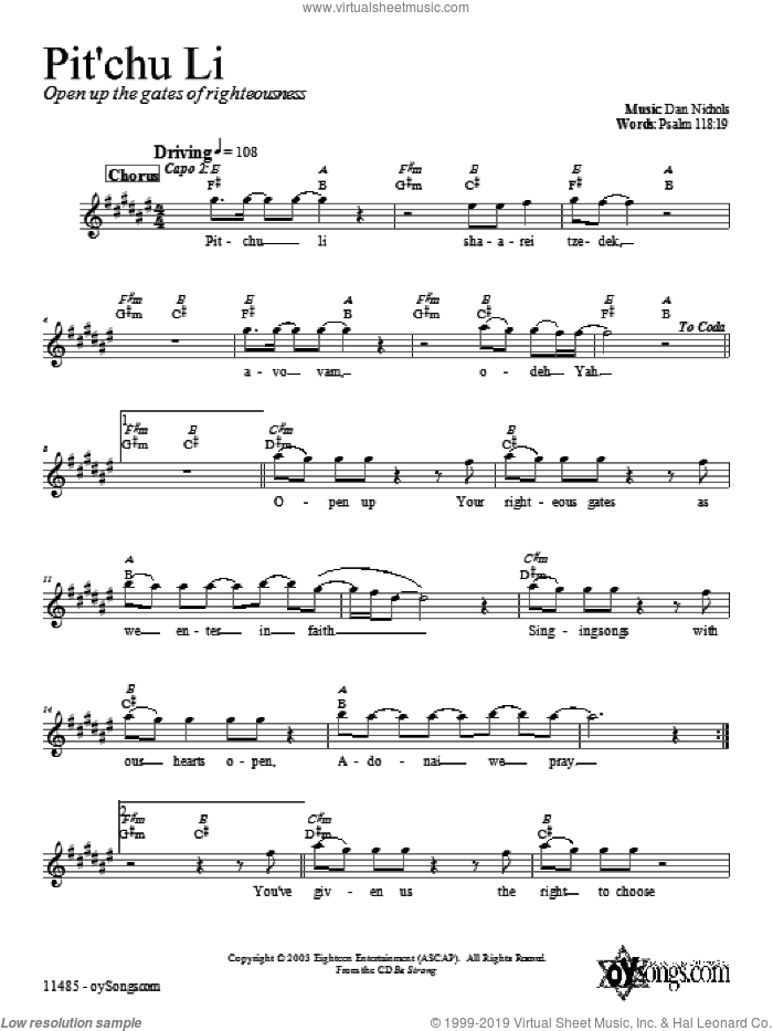 Pit'chu Li sheet music for voice and other instruments (fake book) by Dan Nichols, intermediate skill level