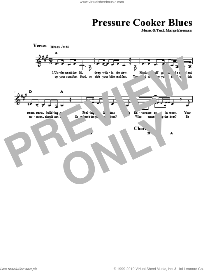 Pressure Cooker Blues sheet music for voice and other instruments (fake book) by Marge Eiseman. Score Image Preview.