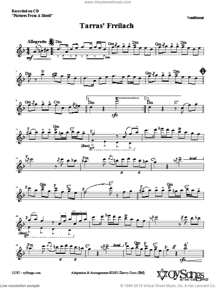 Tarras' Freilach sheet music for voice and other instruments (fake book) by Zinovy Goro, intermediate skill level