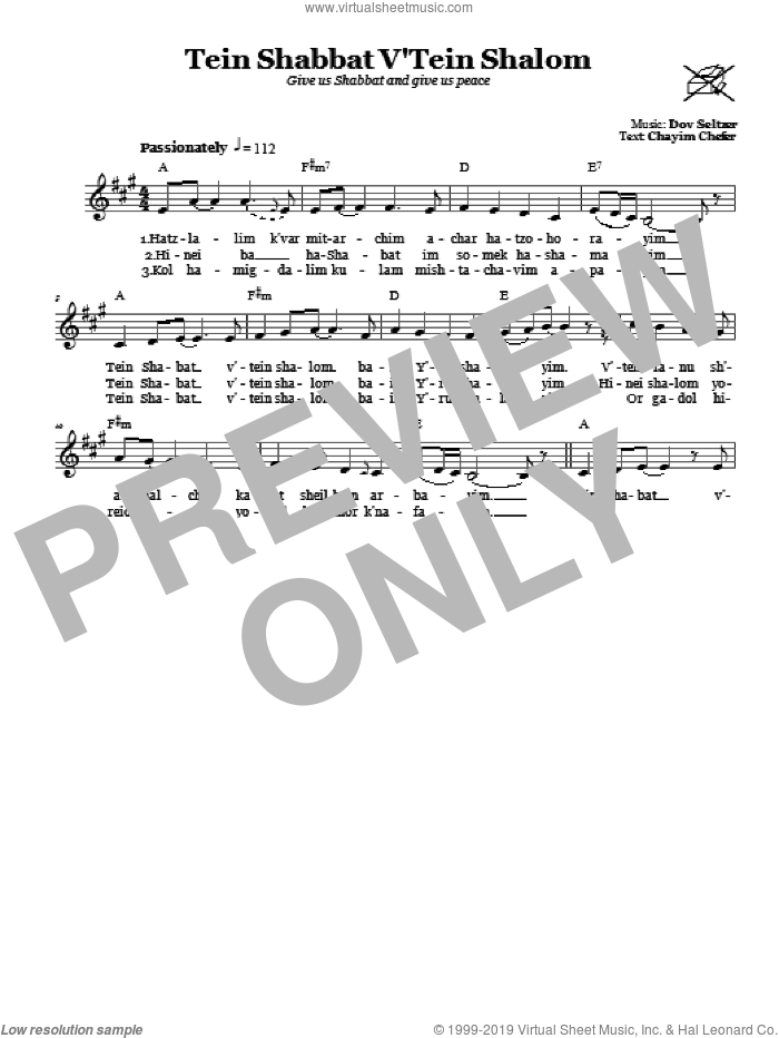 Tein Shabbat V'Tein Shalom (Give Us Shabbat And Peace) sheet music for voice and other instruments (fake book) by Dov Seltzer, intermediate skill level