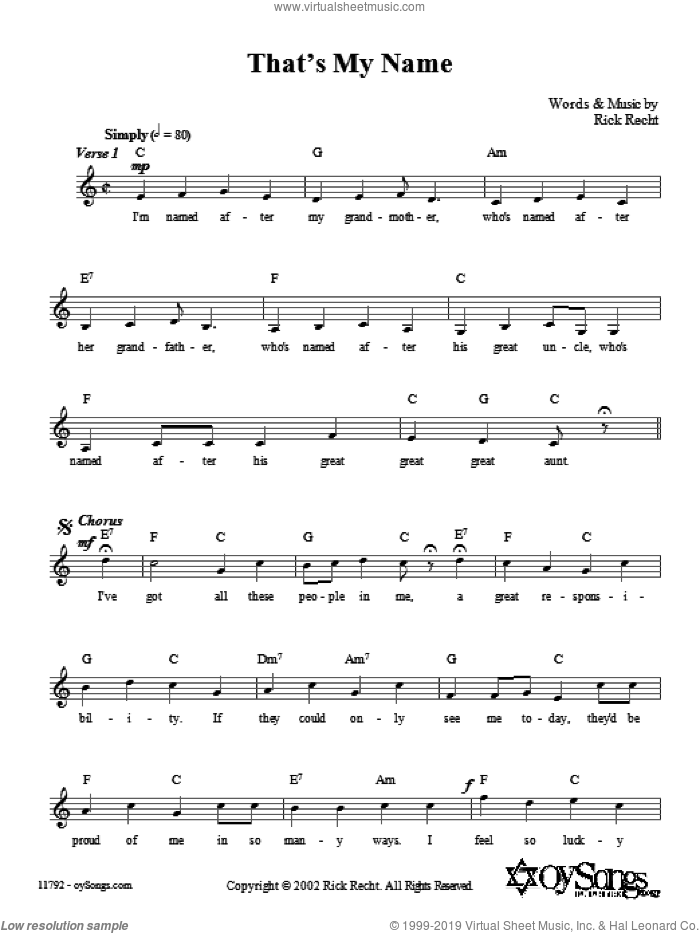 That's My Name sheet music for voice and other instruments (fake book) by Rick Recht