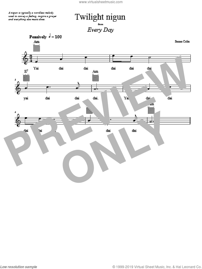 Twilight Nigun sheet music for voice and other instruments (fake book) by Susan Colin, intermediate. Score Image Preview.
