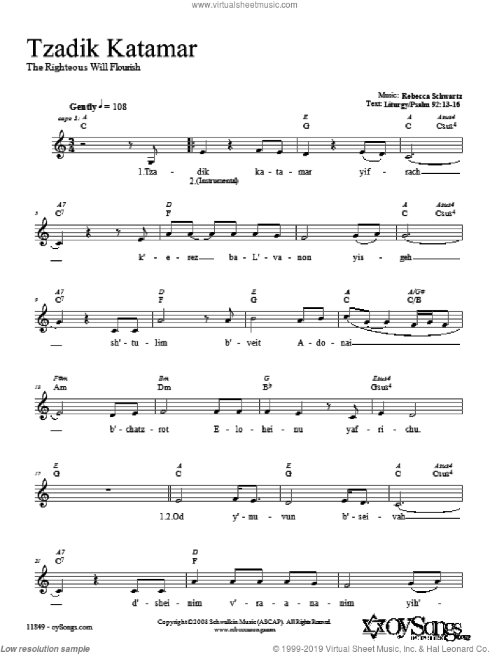Tzadik Katamar sheet music for voice and other instruments (fake book) by Rebecca Schwartz. Score Image Preview.