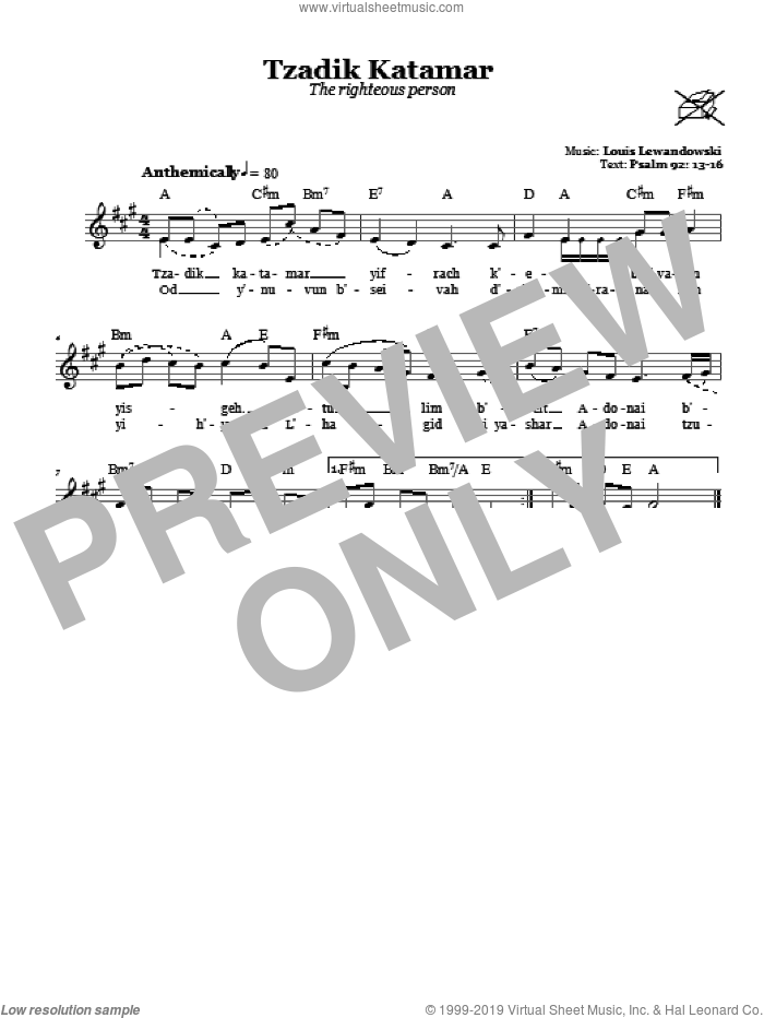 Tzadik Katamar (The Righteous Person) sheet music for voice and other instruments (fake book) by Louis Lewandowski, intermediate. Score Image Preview.