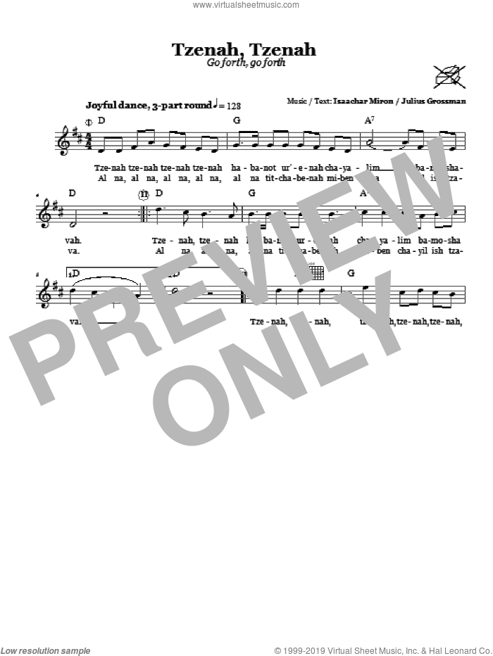 Tzenah, Tzenah (Go Forth, Go Forth) sheet music for voice and other instruments (fake book) by Julius Grossman, intermediate. Score Image Preview.
