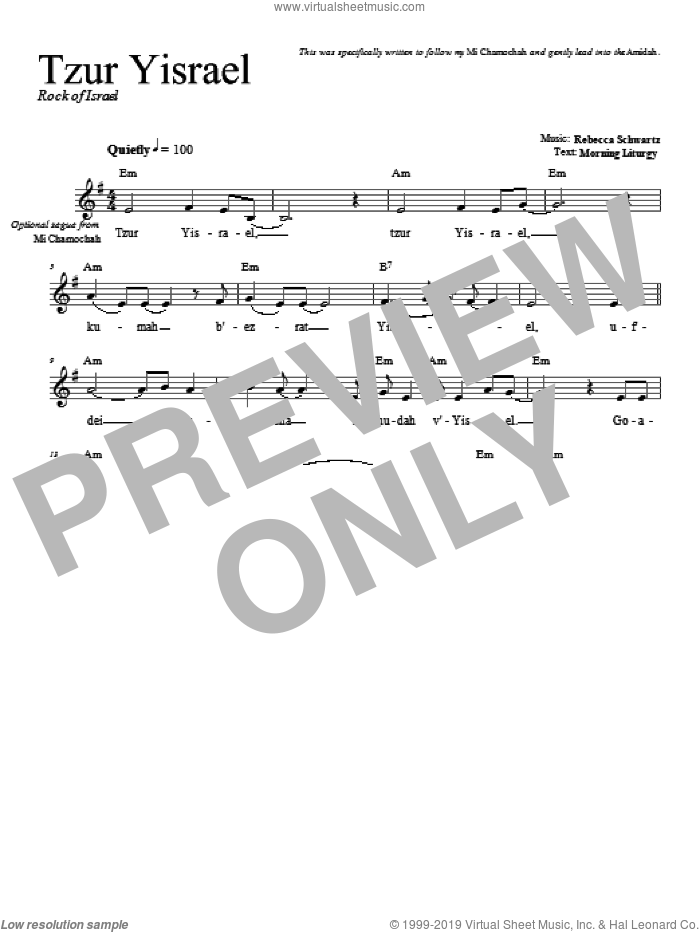 Tzur Yisrael sheet music for voice and other instruments (fake book) by Rebecca Schwartz, intermediate skill level