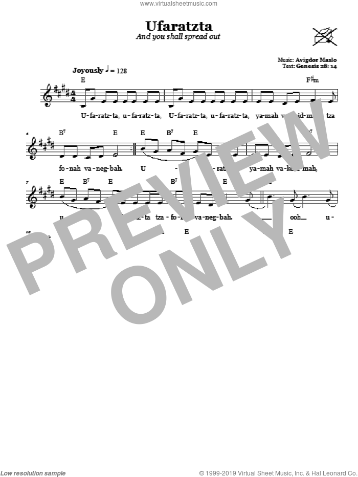 Ufaratzta (And You Shall Spread Out) sheet music for voice and other instruments (fake book) by Avigdor Maslo