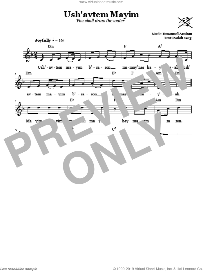 Ush'avtem Mayim (You Shall Draw The Water) sheet music for voice and other instruments (fake book) by Emanuel Amiran. Score Image Preview.