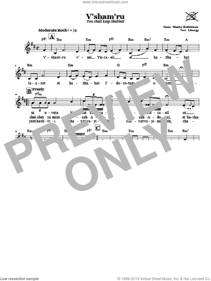 V'sham'ru (You Shall Keep Shabbat) sheet music for voice and other instruments (fake book) by Moshe Rothblum, intermediate skill level