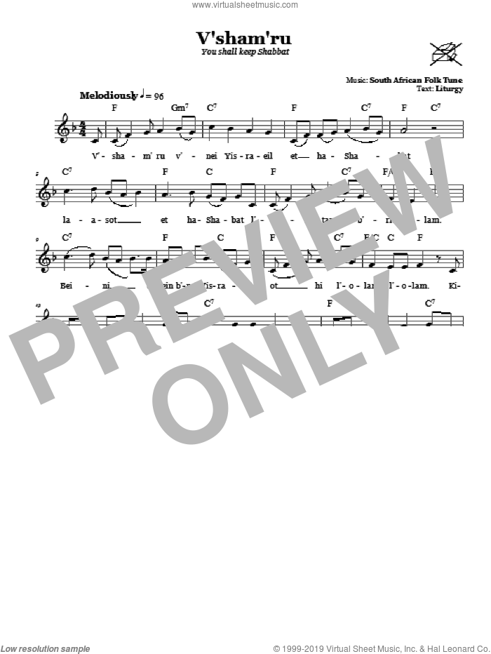 V'sham'ru (You Shall Keep Shabbat) sheet music for voice and other instruments (fake book). Score Image Preview.