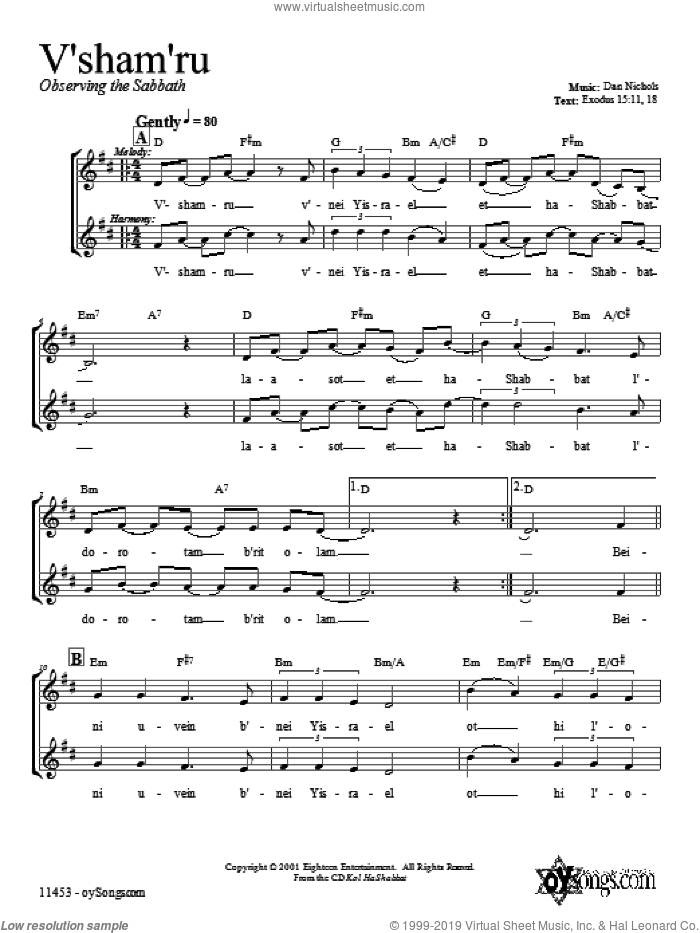 V'shamru sheet music for voice and other instruments (fake book) by Dan Nichols, intermediate voice. Score Image Preview.